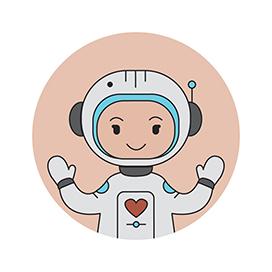 Hug emoji astronaut with heart on chest